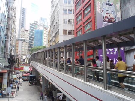 Der berühmte Escalator zu den Midlevels auf Hong Kong Island. Soho von Hong Kong.