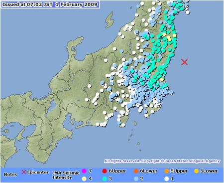 Das Epizentrum im Pazifik und die vielen Messstationen in und um Tokyo.